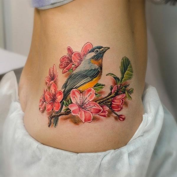 3d tattoos bunt vogel blumen motiv