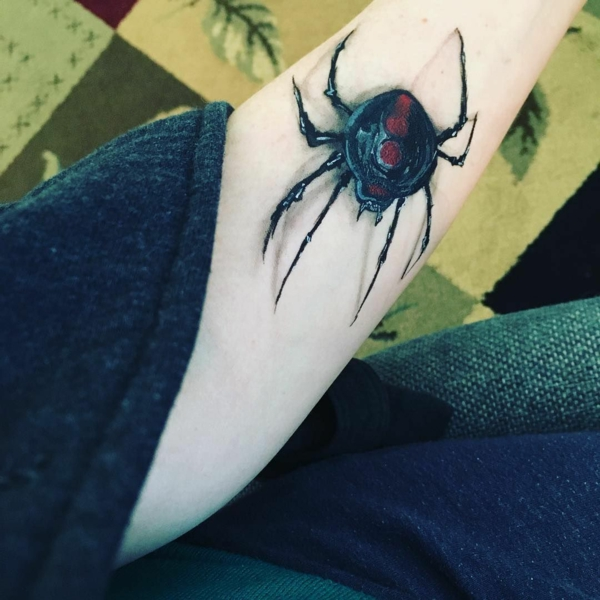 3d tattoos bunte tätowierung spinne