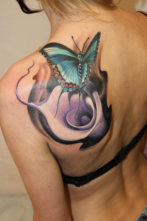 3d tattoos damen rücken schulter schmetterling calla