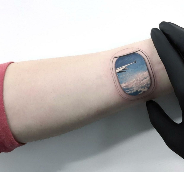 3d tattoos flugzeugfenster reise tätowierung