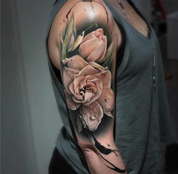 3d tattoos ganz arm blumen