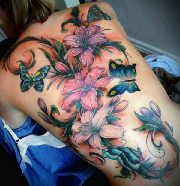 3d tattoos ganzer rücken damen tätowierung lilium