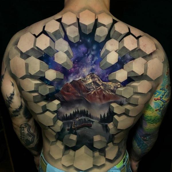 3d tattoos ganzer rücken landschaft
