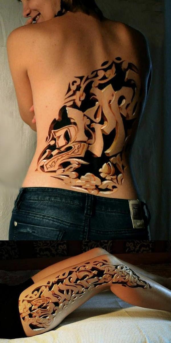 3d tattoos geschnitzte motive rücken bein