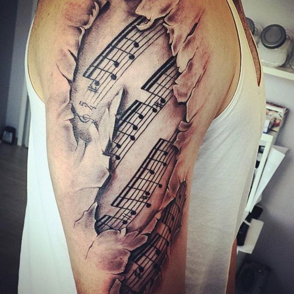 3d tattoos oberarm noten muster