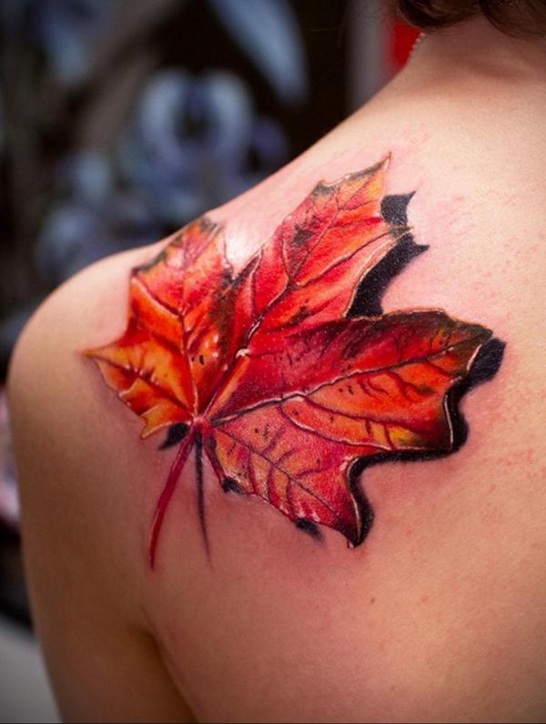 3d tattoos oberarm schulter ahornblatt