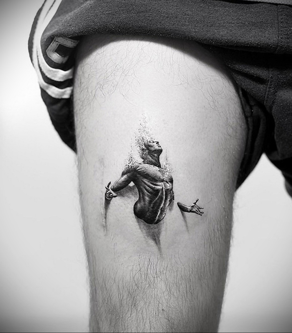 3d tattoos oberschenkel männer black work tätowierung