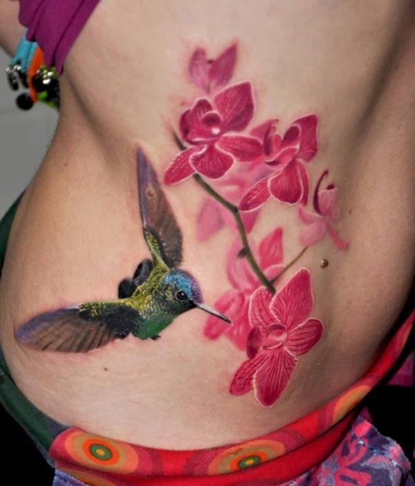3d tattoos orchideen kolibri