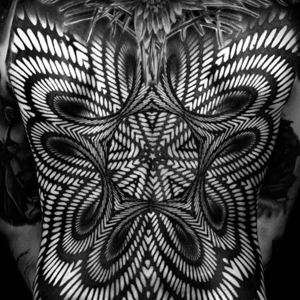3d tattoos rücken black work optische illusion