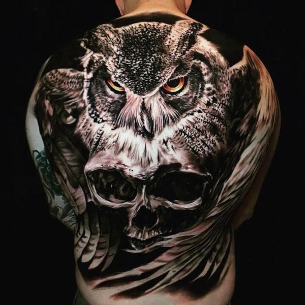3d tattoos rücken ganz eule schädel
