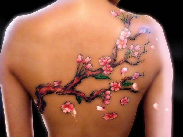 3d tattoos rücken kirschblüten