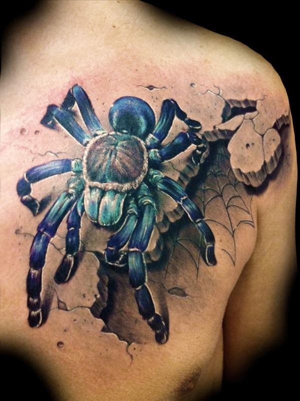 3d tattoos rücken schulter tarantel