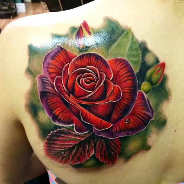 3d tattoos rosen rücken bunt