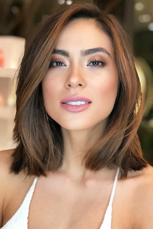 Frisuren für schmale Gesichter Haartrends schulterlange Frisur
