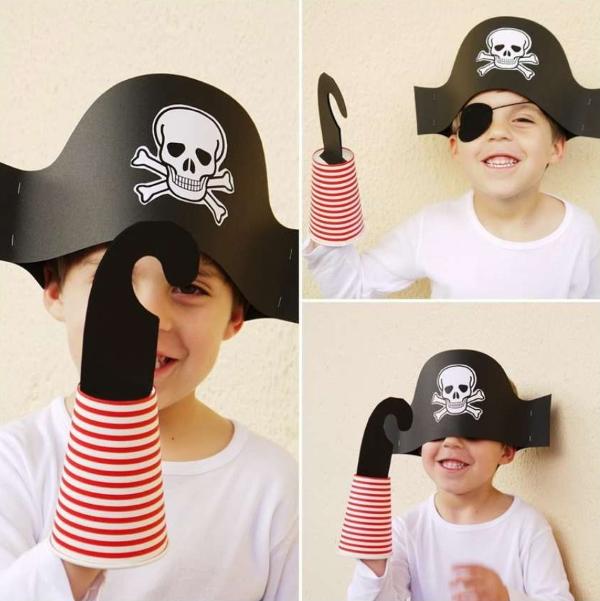 Piratenhut basteln mit Kindern – coole Ideen für Ihre nächste Kostümparty piraten hut collage kinder