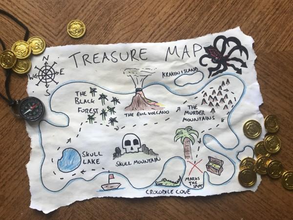 Schatzkarte basteln – kreative Ideen für Ihre nächste Piratenparty piraten karte diy ideen kinder