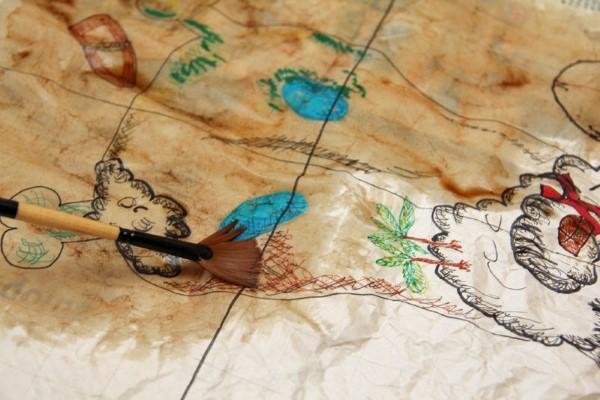Schatzkarte basteln – kreative Ideen für Ihre nächste Piratenparty piraten karte malen