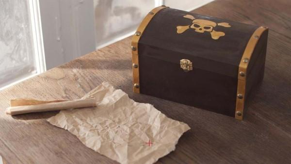 Schatzkiste basteln mit Kindern – lustige Ideen und Anleitung für Ihre Piratenparty schatz karte kiste
