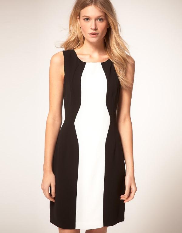 Schlankmachende festliche Kleider – wie optische Täuschungen Sie schlanker machen können schwarz weiß kleid ideen