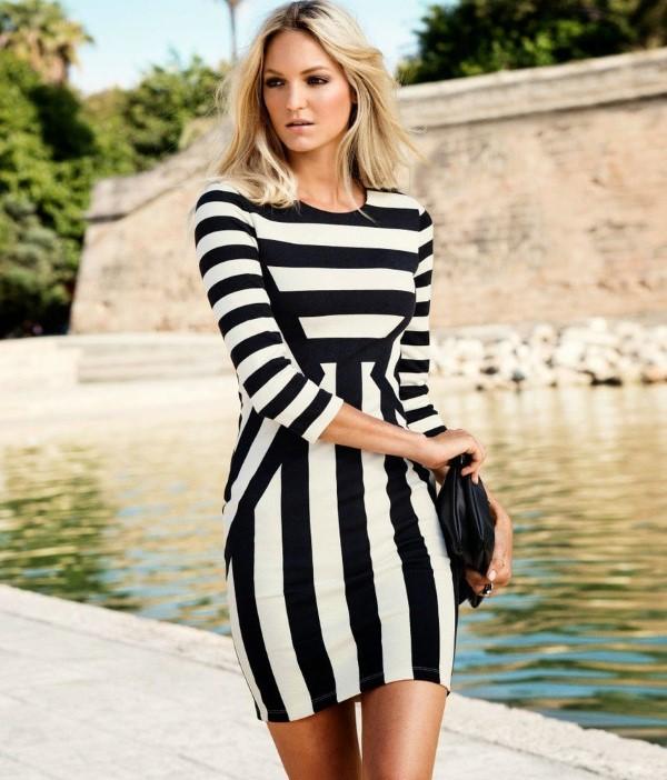 Schlankmachende festliche Kleider – wie optische Täuschungen Sie schlanker machen können streifen kleid schlanke figur
