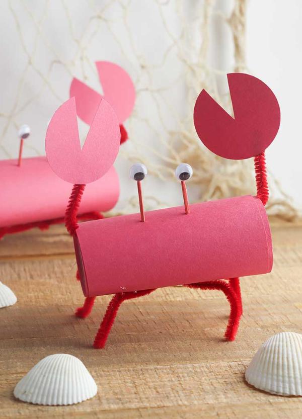 Schnelle Bastelideen für den Sommer – kinderleichte Ideen zum Inspirieren und Nachmachen krebs basteln rot klorolle