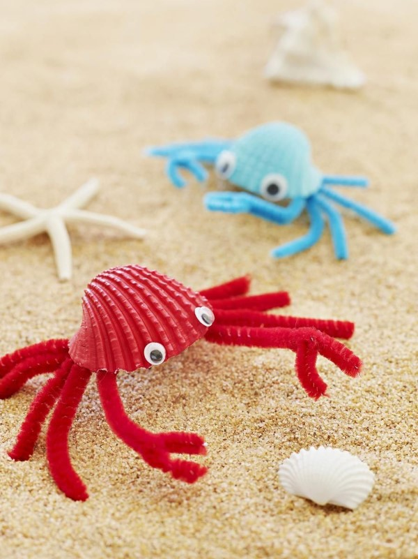 Schnelle Bastelideen für den Sommer – kinderleichte Ideen zum Inspirieren und Nachmachen muscheln tiere strand krebs