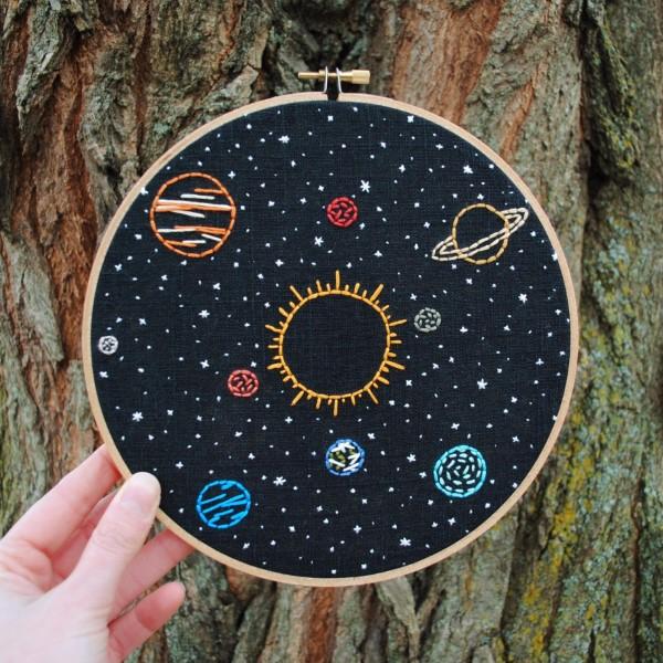 Sonnensystem basteln – kinderleichte Ideen, Anleitung und Wissenswertes über die Planeten stickrahmen ideen hobby erwachsene