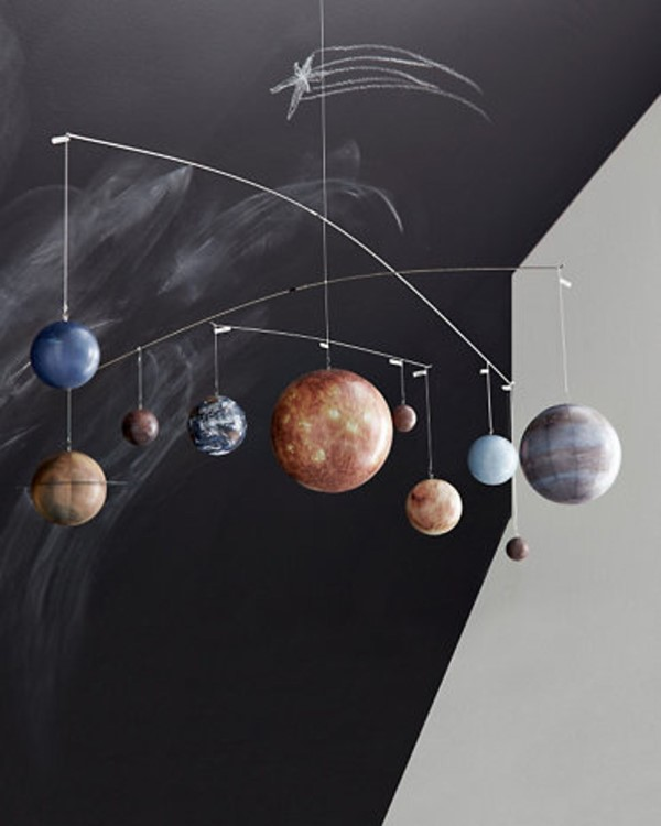 Sonnensystem basteln – kinderleichte Ideen, Anleitung und Wissenswertes über die Planeten windspiel mobiles deko kinder zimmer