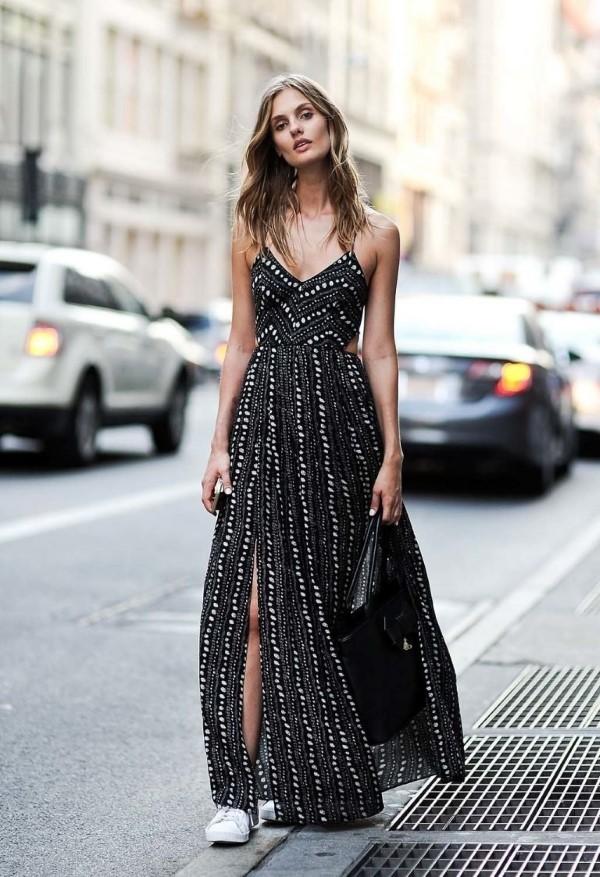 Spaghettiträger Kleid – so tragen Sie dieses trendige Sommerkleid richtig maxi schwarzes kleid
