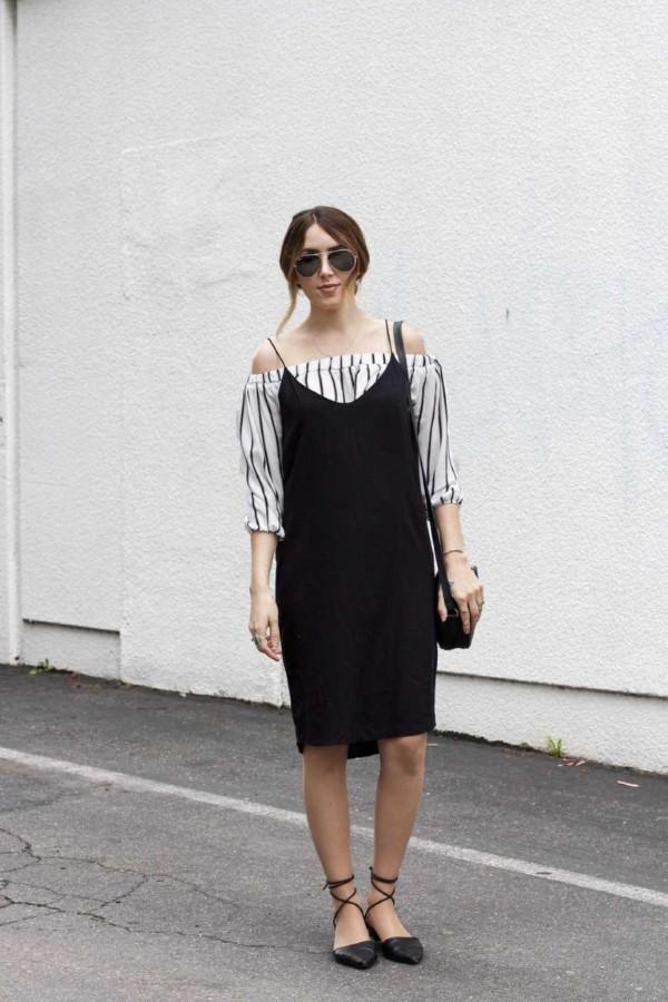 Spaghettiträger Kleid – so tragen Sie dieses trendige Sommerkleid richtig schulterloses hemd schwarzes kleid