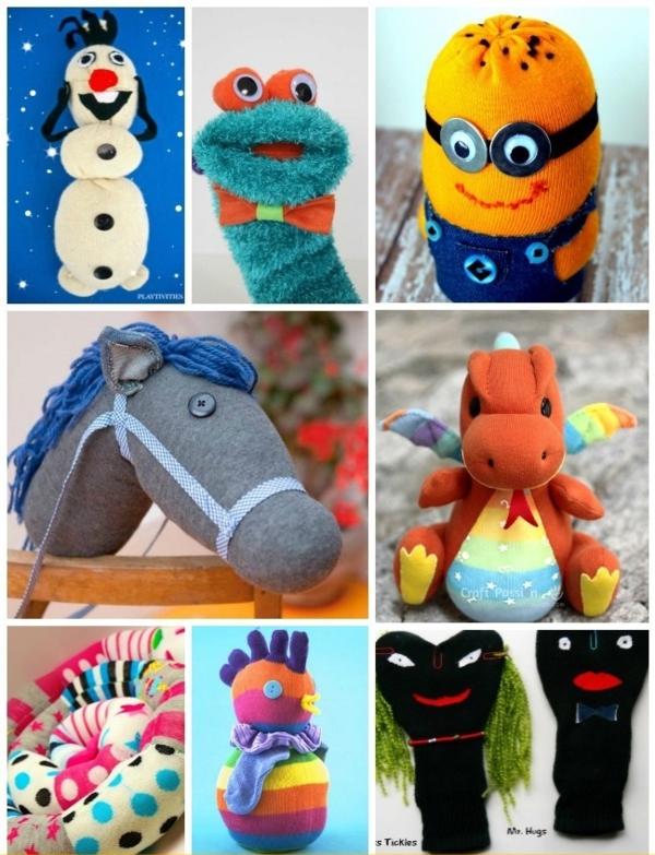 Spielzeug basteln mit Socken DIY Kuscheltiere