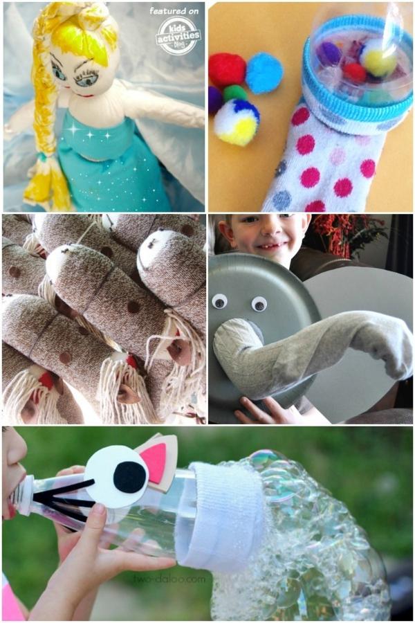 Spielzeug basteln mit Socken vielfältige Bastelideen