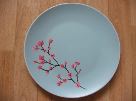 Teller bemalen kirschblüte