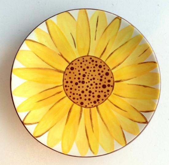Teller bemalen sonnenblume