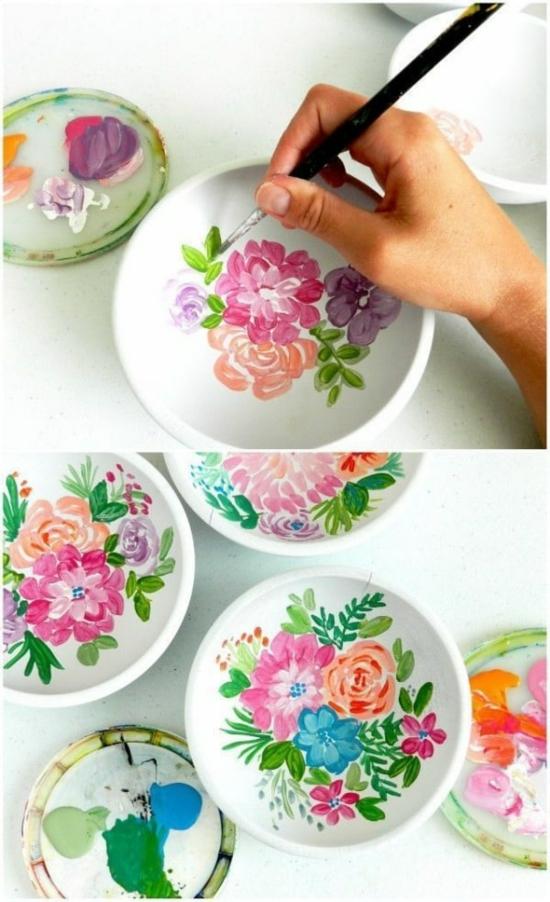 Teller bemalen wunderschöne blüten