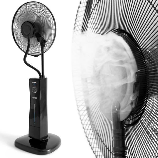 VASNER Cooly Schwarz Standventilator mit Ultraschall Sprühnebel