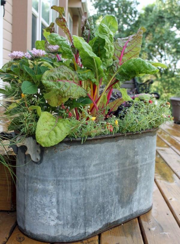 Zinkwanne dekorieren – Ideen und Tipps für eine rustikale Gartendeko garten gemüse hochbeet