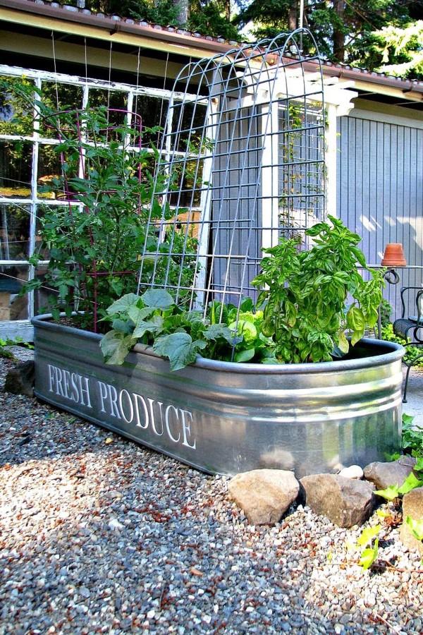 Zinkwanne dekorieren – Ideen und Tipps für eine rustikale Gartendeko gemüse kräuter garten ideen