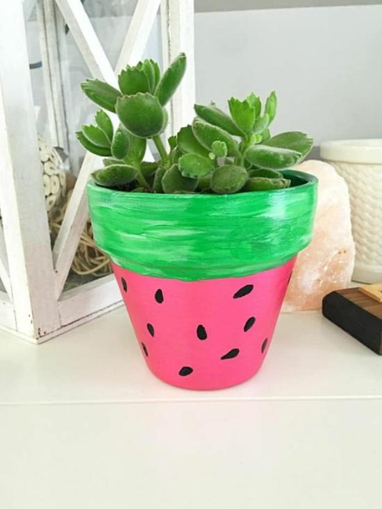 bastelideen für erwachsene diy wassermelone blumentopf