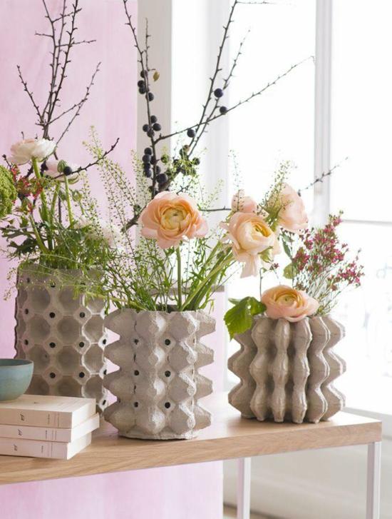 bastelideen für erwachsene eierkarton vasen