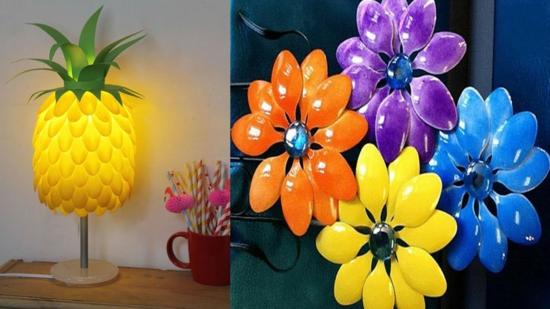 bastelideen für erwachsene lampe ananas basteln aus plastik