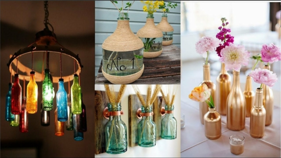 bastelideen für erwachsene mit gläsern und flaschen