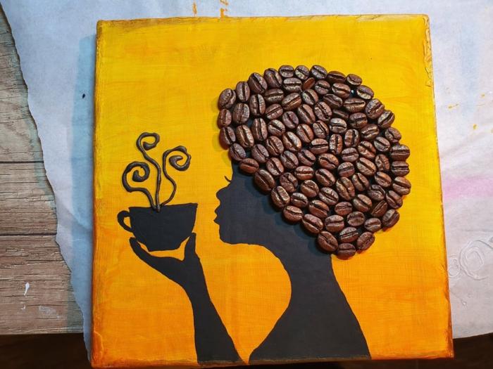 basteln mit kaffeebohnen afrikanische frau