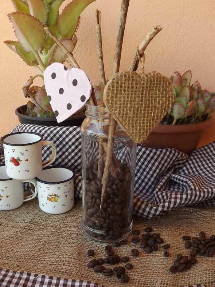 basteln mit kaffeebohnen bohnen im glas