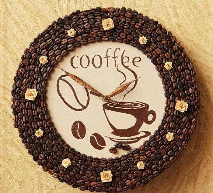 basteln mit kaffeebohnen bohnen wanduhr