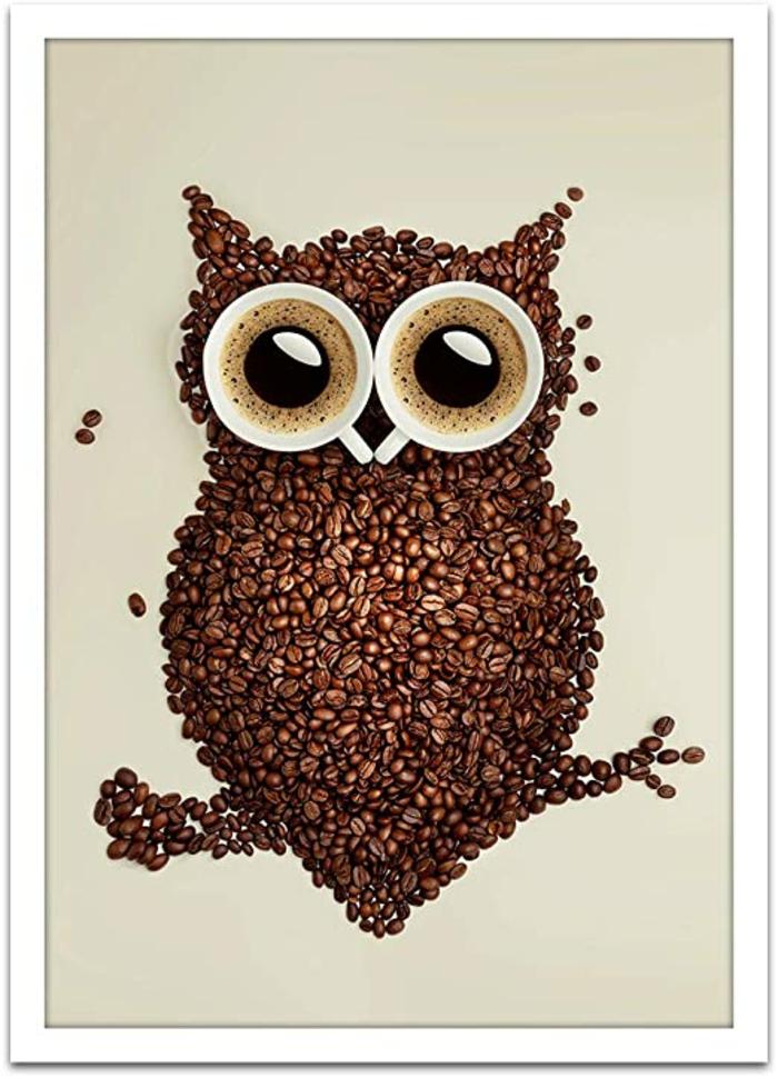 basteln mit kaffeebohnen eule