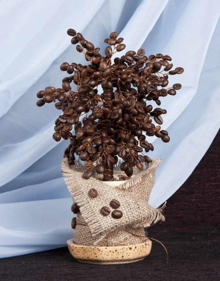 basteln mit kaffeebohnen geldbaum