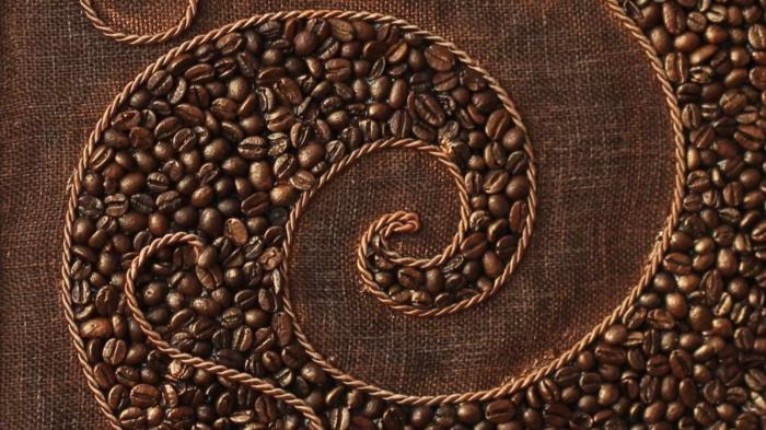 basteln mit kaffeebohnen jutesack