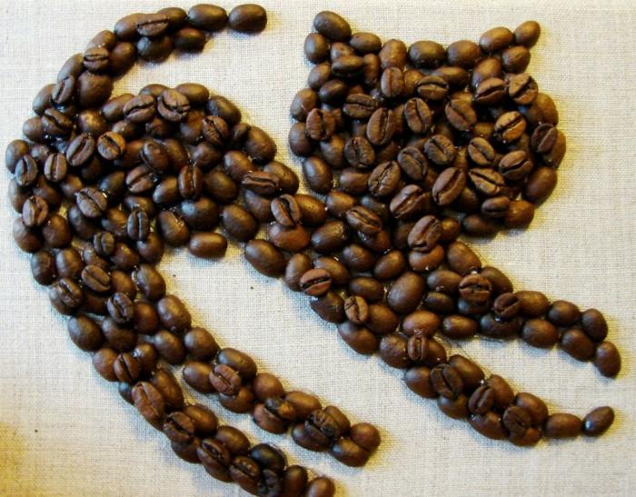 basteln mit kaffeebohnen katze