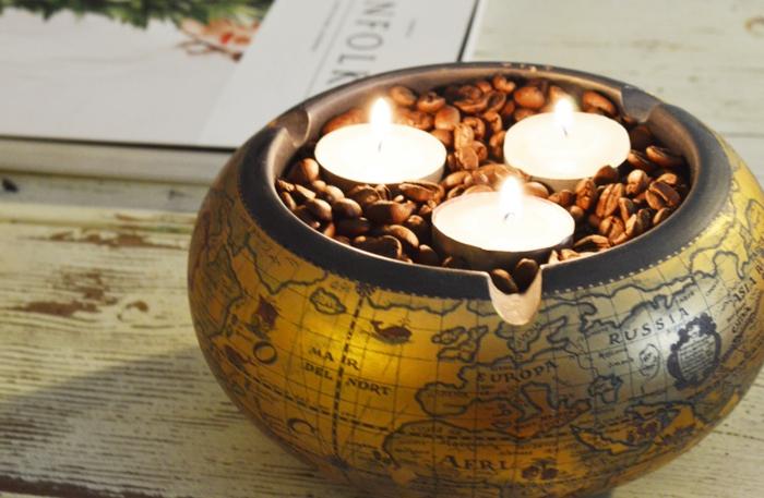 basteln mit kaffeebohnen maxi kerze